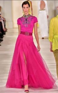 ralph lauren fucsia long dress runway 2015