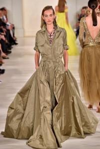ralph lauren kaki long dress runway 2015