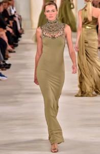 ralph lauren long dress fashon show new york 2015
