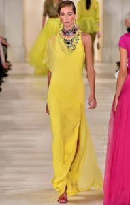 ralph lauren yellow dress runway 2015